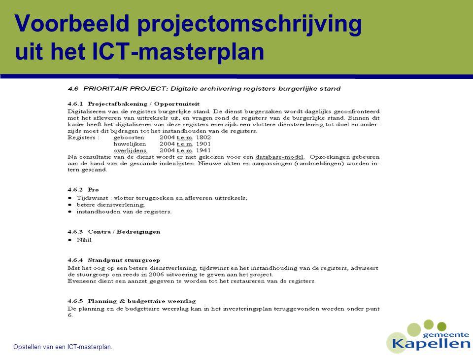 Voorbeeld projectomschrijving uit het ICT-masterplan