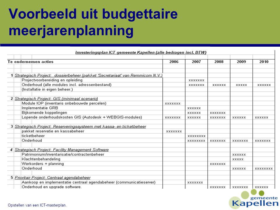 Voorbeeld uit budgettaire meerjarenplanning