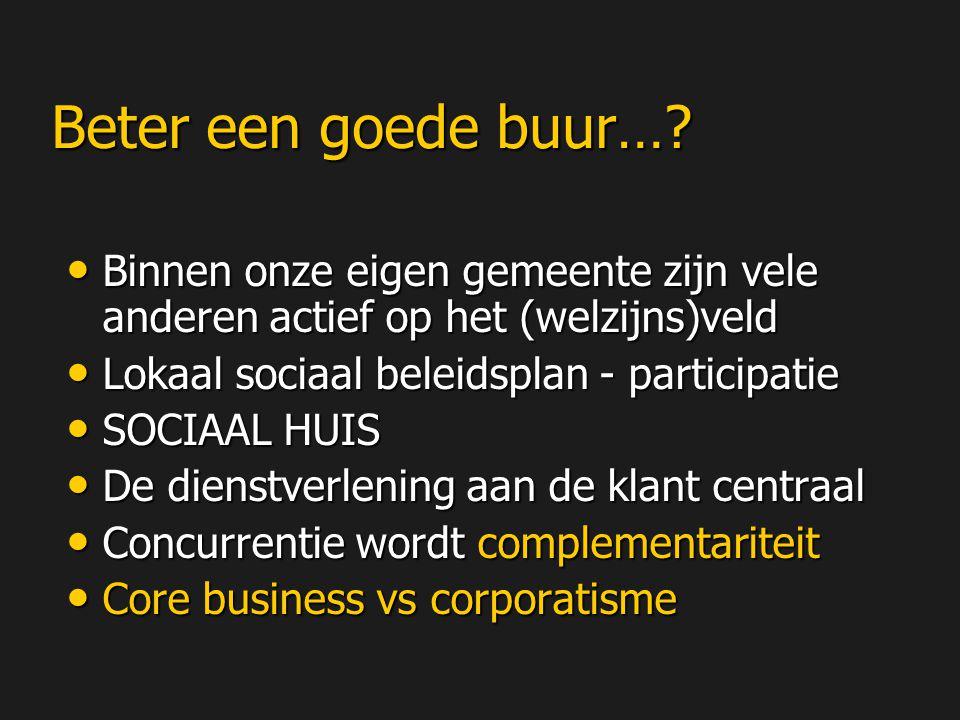 Beter een goede buur… Binnen onze eigen gemeente zijn vele anderen actief op het (welzijns)veld. Lokaal sociaal beleidsplan - participatie.