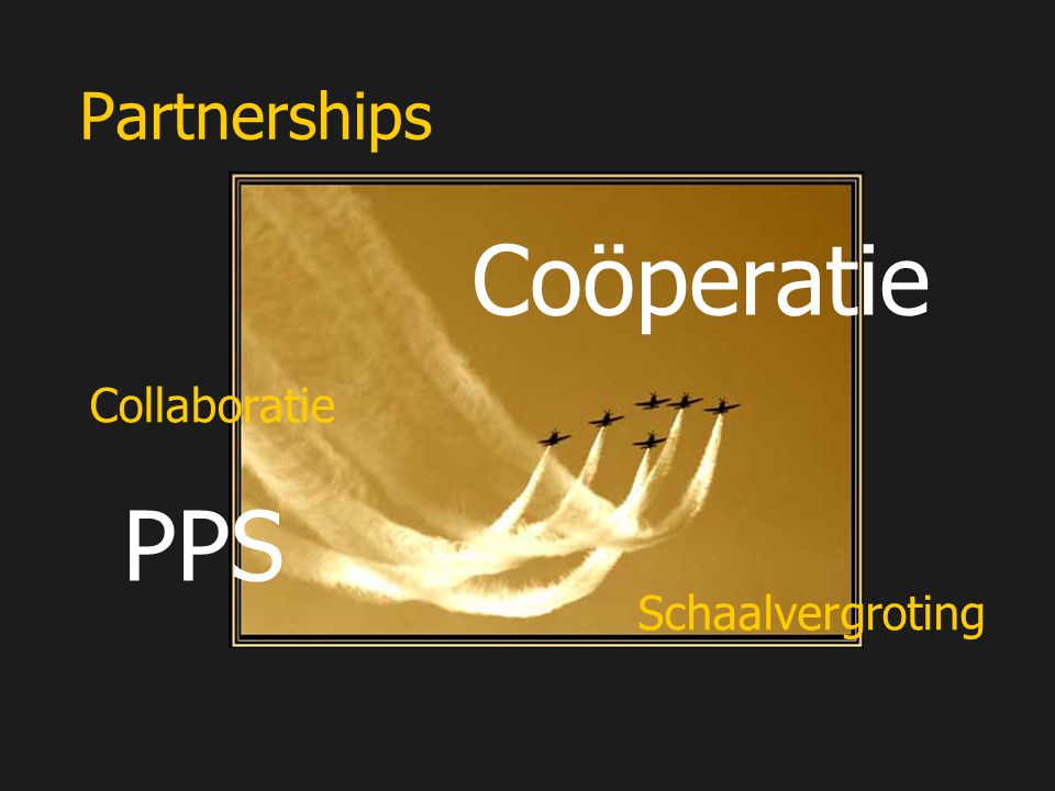 Partnerships Coöperatie Collaboratie PPS Schaalvergroting
