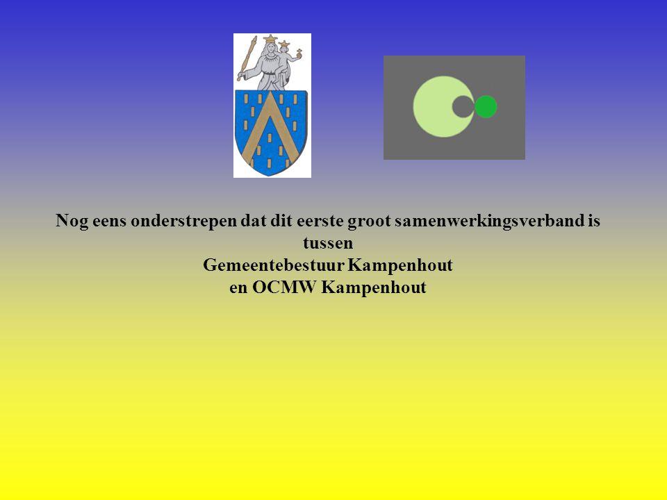 Nog eens onderstrepen dat dit eerste groot samenwerkingsverband is tussen Gemeentebestuur Kampenhout en OCMW Kampenhout