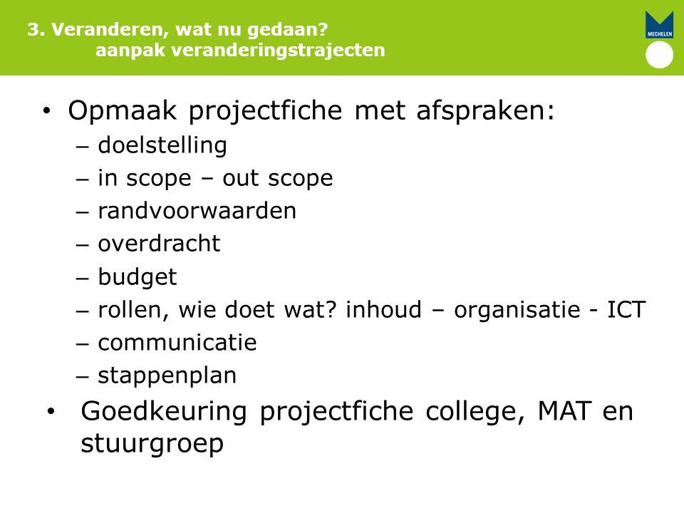 Opmaak projectfiche met afspraken: