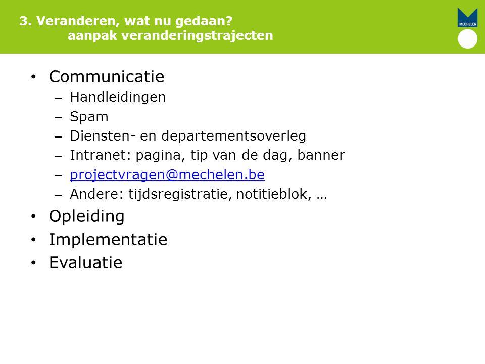Communicatie Opleiding Implementatie Evaluatie Handleidingen Spam