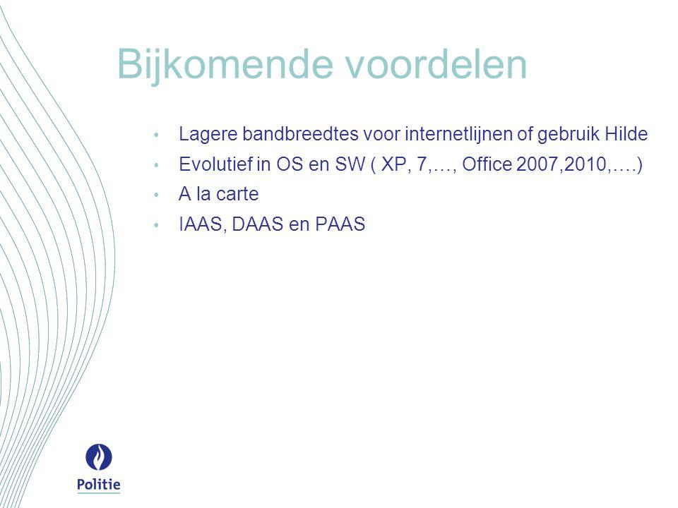 Bijkomende voordelen Lagere bandbreedtes voor internetlijnen of gebruik Hilde. Evolutief in OS en SW ( XP, 7,…, Office 2007,2010,….)
