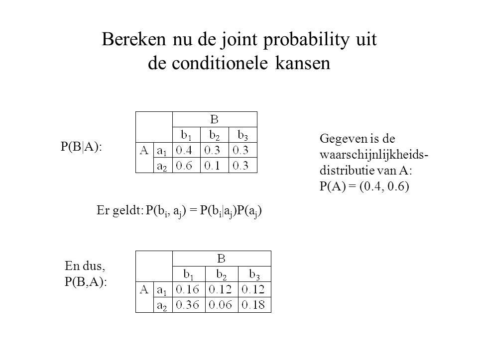 Bereken nu de joint probability uit de conditionele kansen