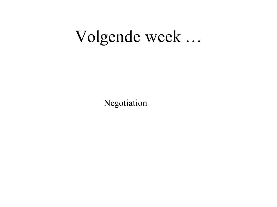 Volgende week … Negotiation