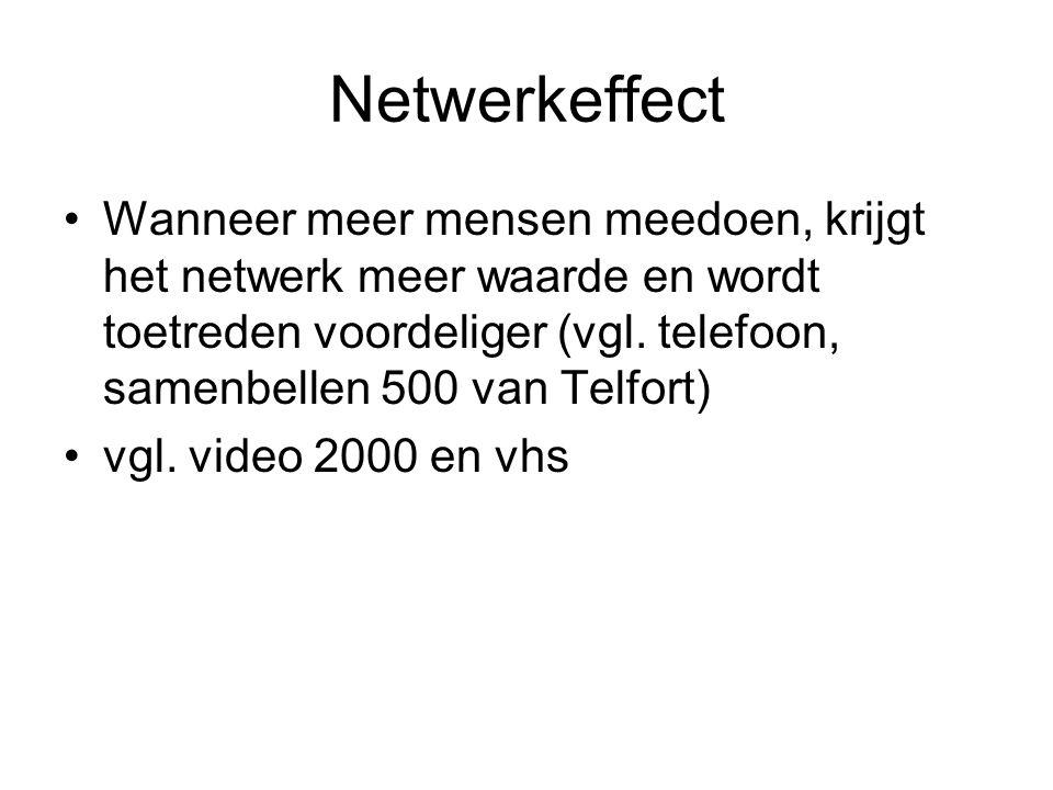 Netwerkeffect Wanneer meer mensen meedoen, krijgt het netwerk meer waarde en wordt toetreden voordeliger (vgl. telefoon, samenbellen 500 van Telfort)