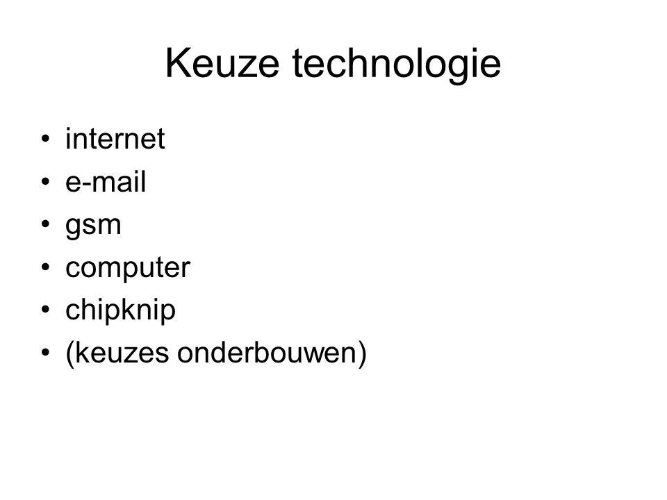 Keuze technologie internet e-mail gsm computer chipknip