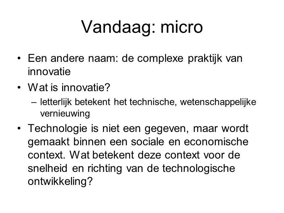 Vandaag: micro Een andere naam: de complexe praktijk van innovatie