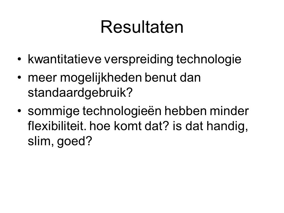 Resultaten kwantitatieve verspreiding technologie