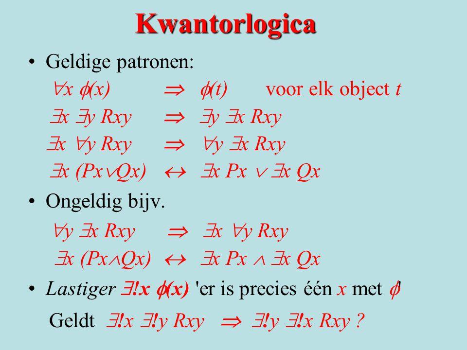 Kwantorlogica Geldige patronen: x f(x)  f(t) voor elk object t