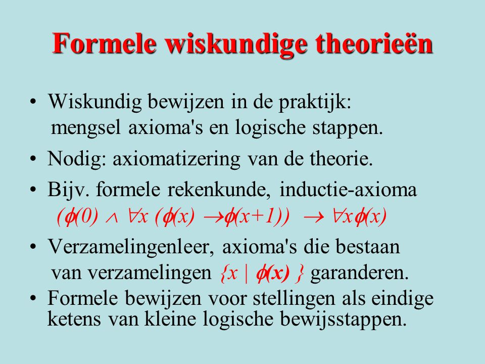 Formele wiskundige theorieën