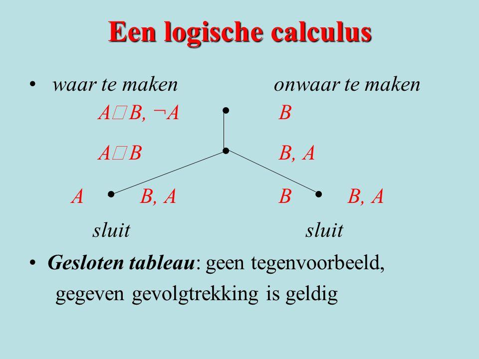 Een logische calculus waar te maken onwaar te maken AÚ B, ¬A • B