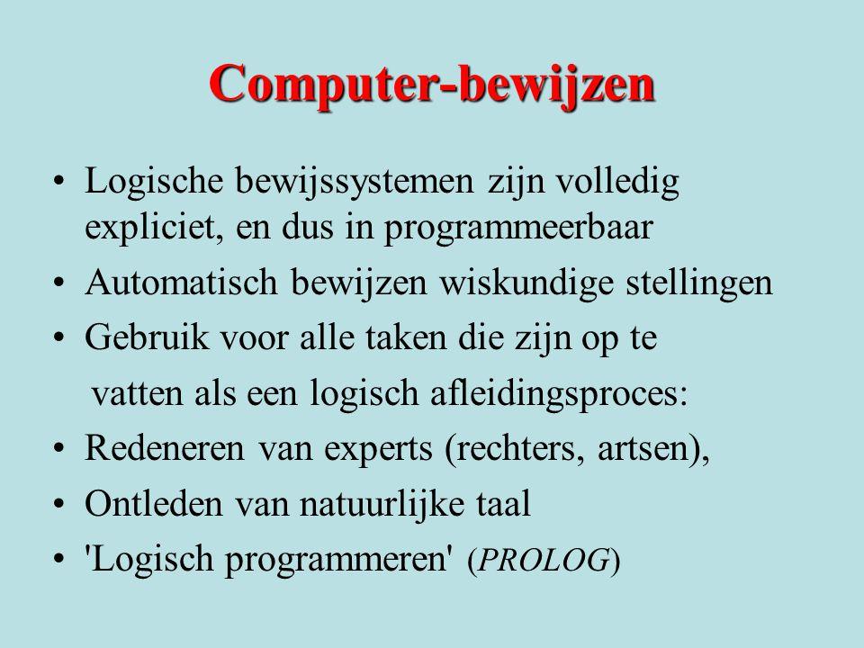Computer-bewijzen Logische bewijssystemen zijn volledig expliciet, en dus in programmeerbaar. Automatisch bewijzen wiskundige stellingen.