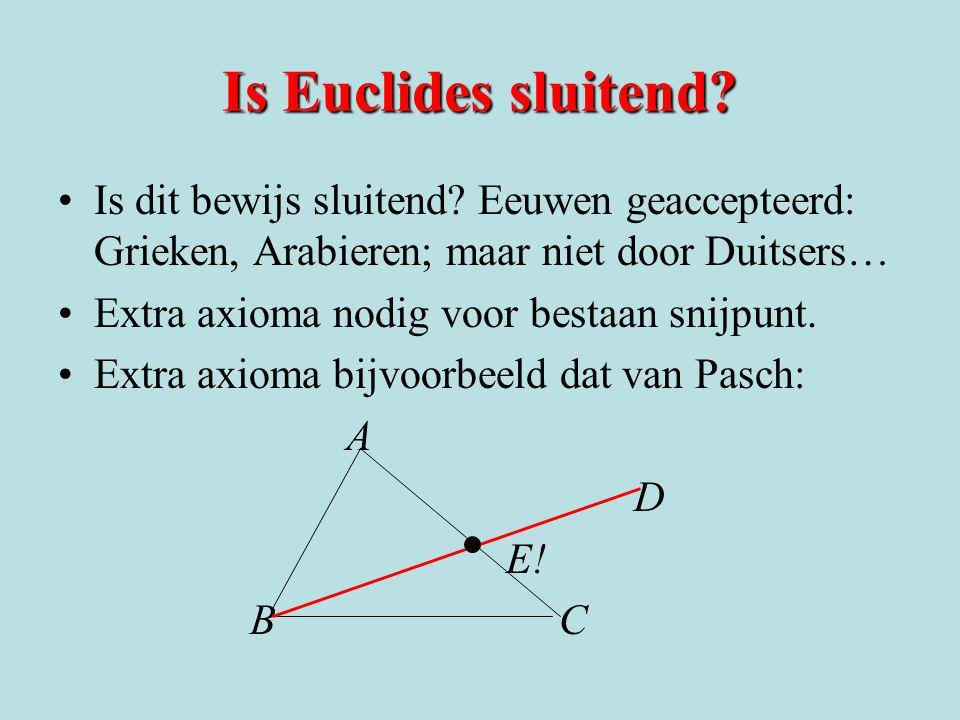 Is Euclides sluitend Is dit bewijs sluitend Eeuwen geaccepteerd: Grieken, Arabieren; maar niet door Duitsers…