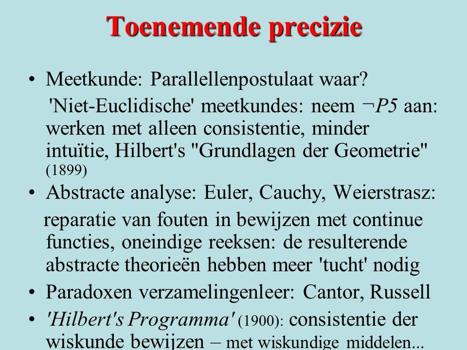 Toenemende precizie Meetkunde: Parallellenpostulaat waar