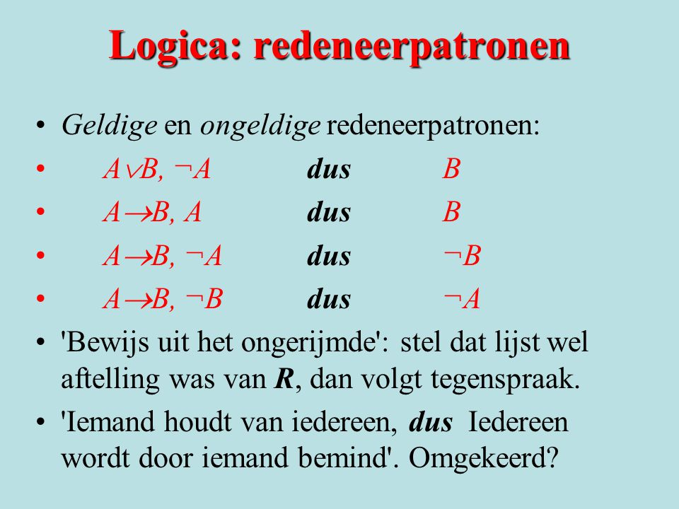 Logica: redeneerpatronen