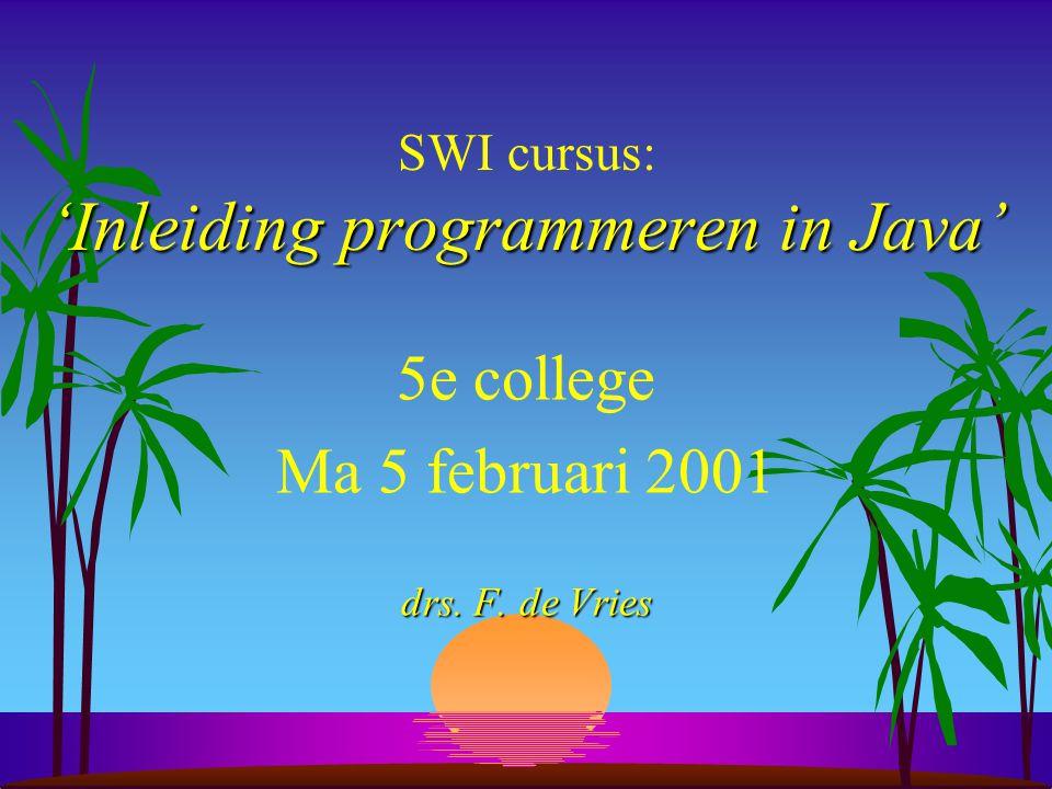 SWI cursus: 'Inleiding programmeren in Java'