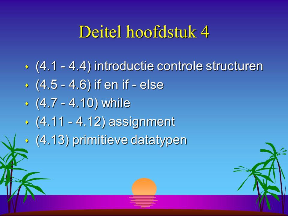 Deitel hoofdstuk 4 (4.1 - 4.4) introductie controle structuren