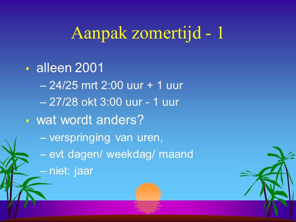 Aanpak zomertijd - 1 alleen 2001 wat wordt anders