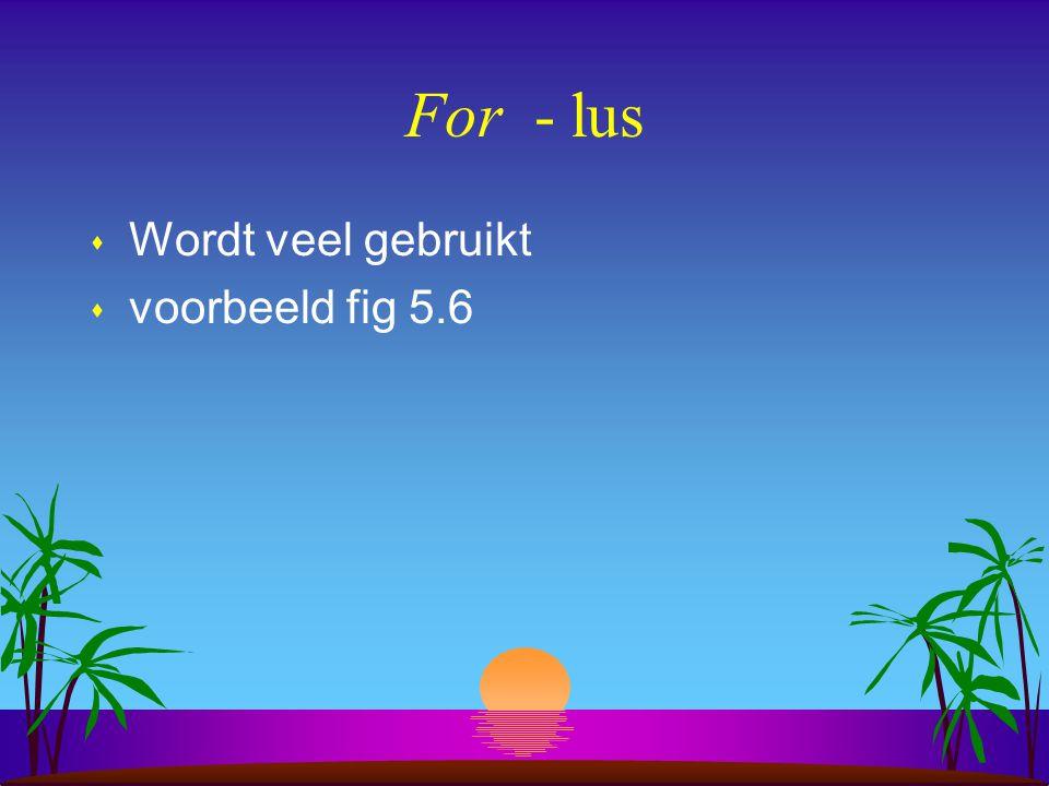 For - lus Wordt veel gebruikt voorbeeld fig 5.6