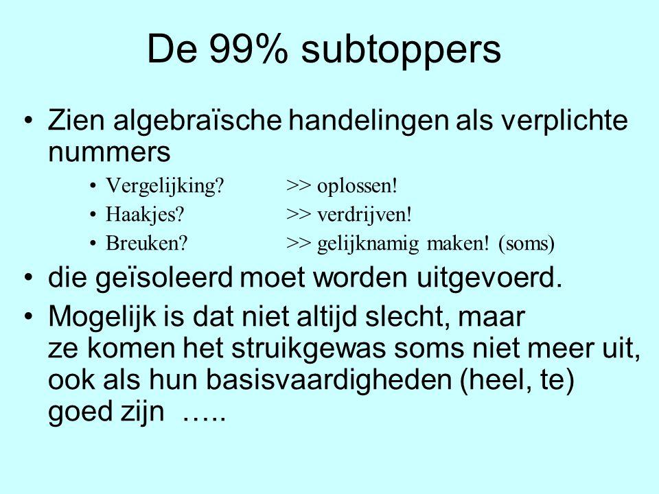De 99% subtoppers Zien algebraïsche handelingen als verplichte nummers