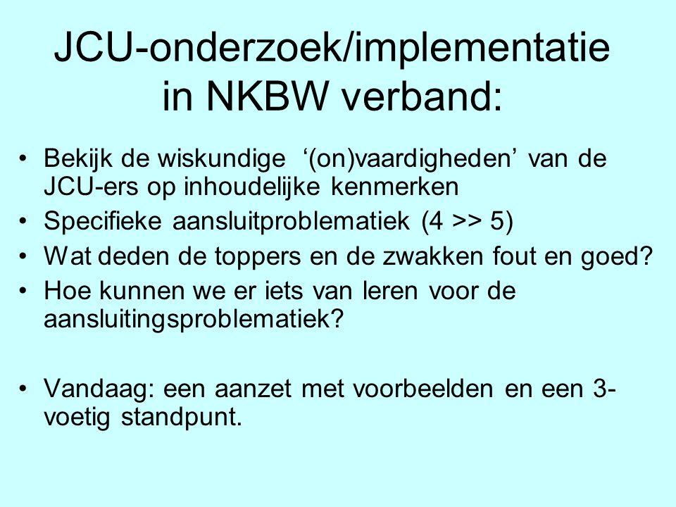 JCU-onderzoek/implementatie in NKBW verband: