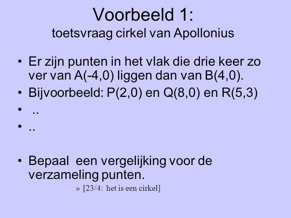 Voorbeeld 1: toetsvraag cirkel van Apollonius