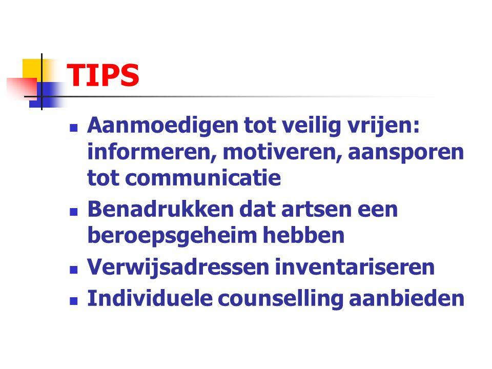 TIPS Aanmoedigen tot veilig vrijen: informeren, motiveren, aansporen tot communicatie. Benadrukken dat artsen een beroepsgeheim hebben.