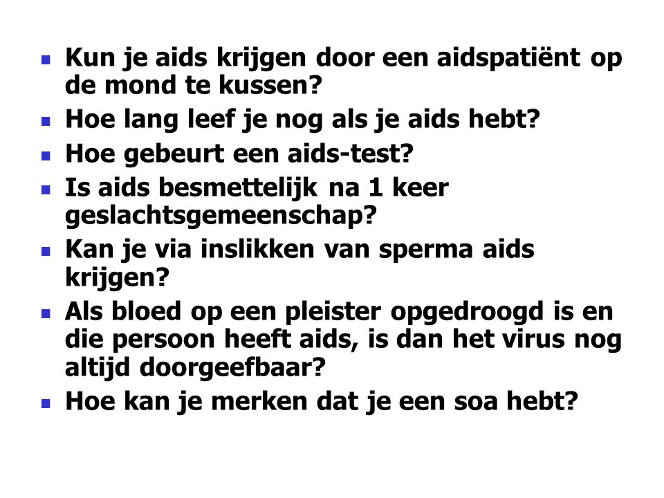 Kun je aids krijgen door een aidspatiënt op de mond te kussen