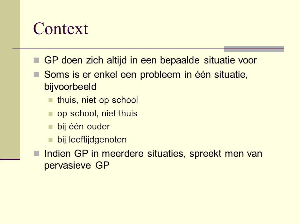 Context GP doen zich altijd in een bepaalde situatie voor