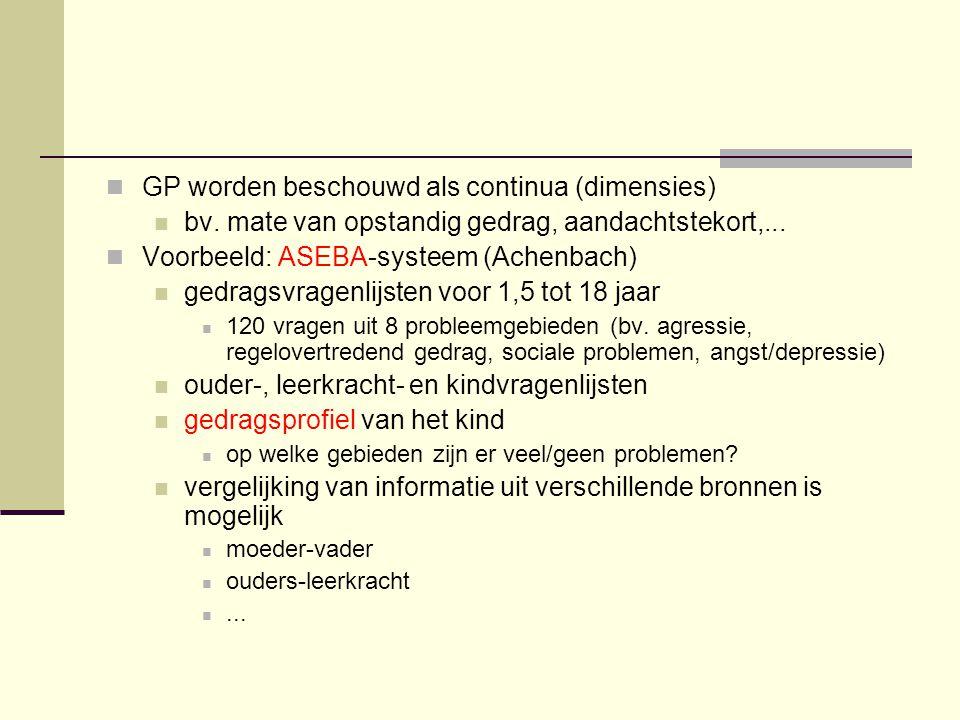 GP worden beschouwd als continua (dimensies)
