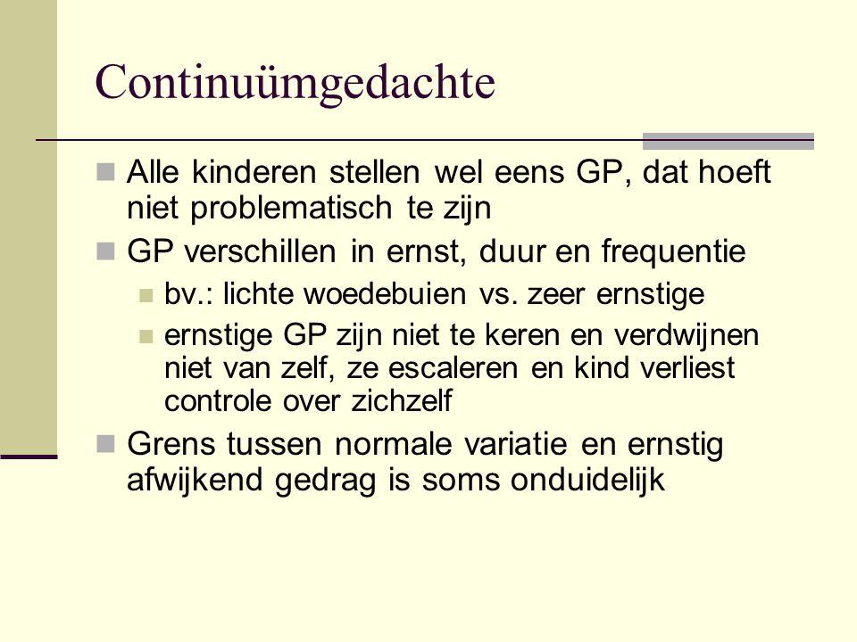 Continuümgedachte Alle kinderen stellen wel eens GP, dat hoeft niet problematisch te zijn. GP verschillen in ernst, duur en frequentie.