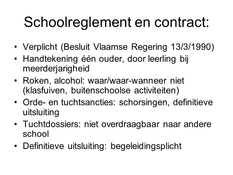 Schoolreglement en contract: