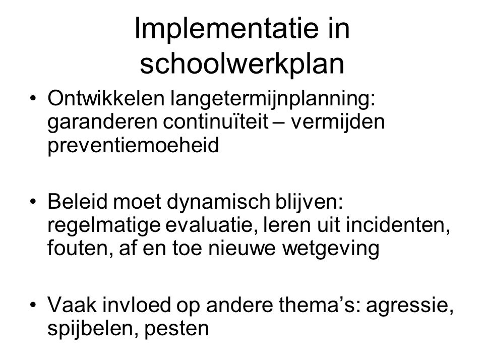 Implementatie in schoolwerkplan