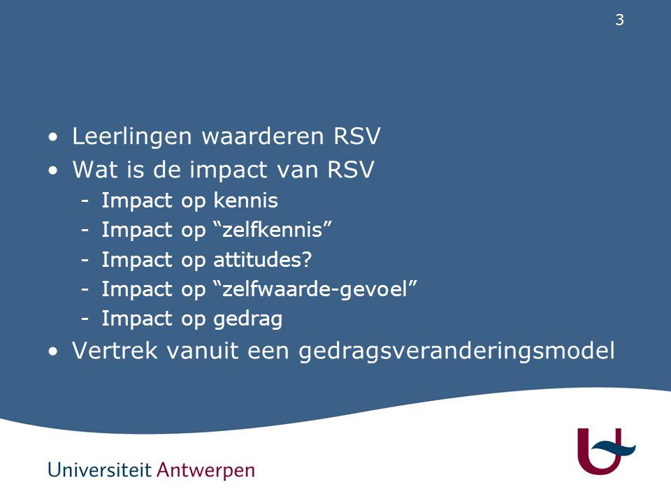 Leerlingen waarderen RSV Wat is de impact van RSV