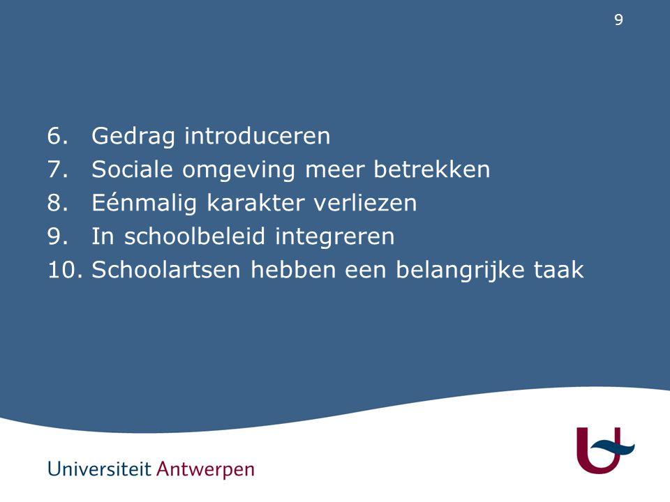 Gedrag introduceren Sociale omgeving meer betrekken. Eénmalig karakter verliezen. In schoolbeleid integreren.
