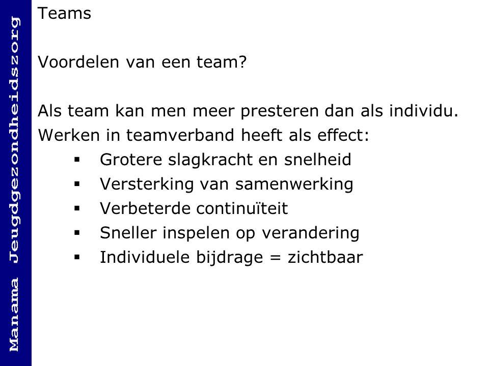 Teams Voordelen van een team Als team kan men meer presteren dan als individu. Werken in teamverband heeft als effect: