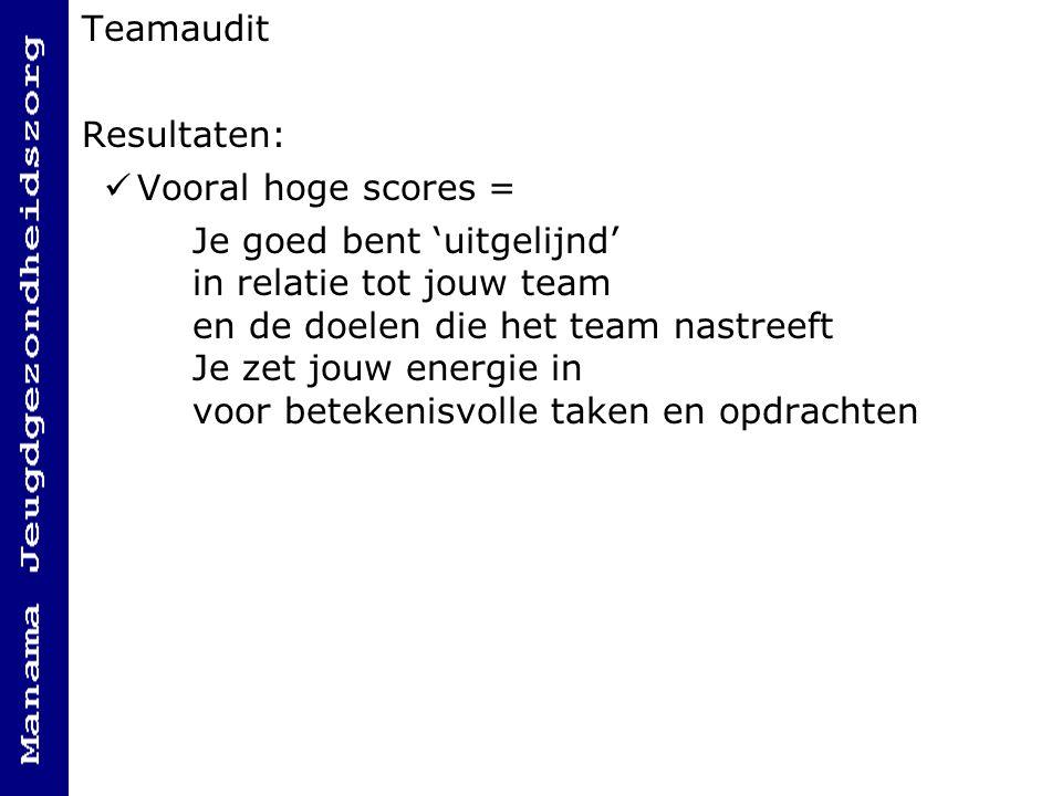 Teamaudit Resultaten: Vooral hoge scores =
