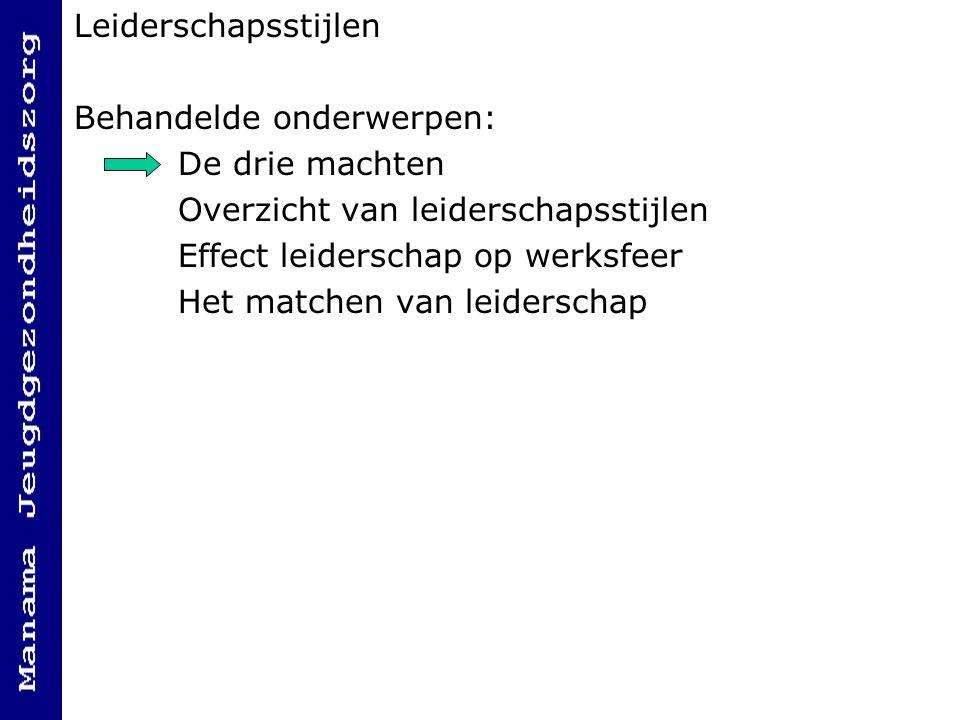 Leiderschapsstijlen Behandelde onderwerpen: De drie machten. Overzicht van leiderschapsstijlen. Effect leiderschap op werksfeer.