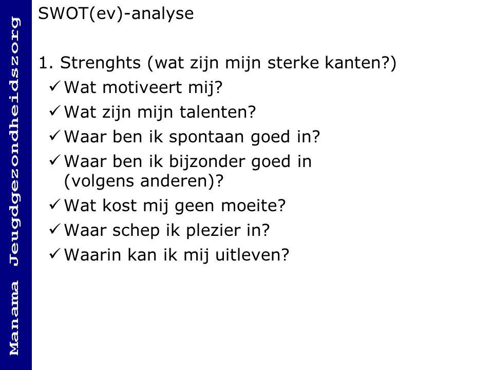 SWOT(ev)-analyse 1. Strenghts (wat zijn mijn sterke kanten ) Wat motiveert mij Wat zijn mijn talenten