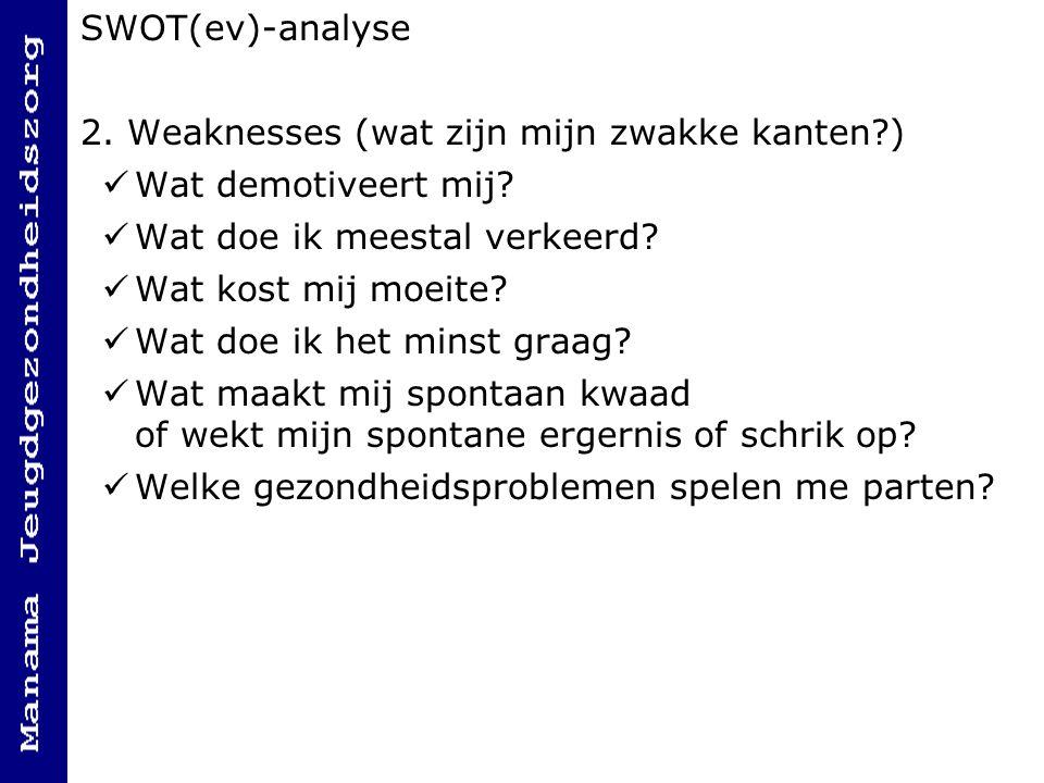 SWOT(ev)-analyse 2. Weaknesses (wat zijn mijn zwakke kanten ) Wat demotiveert mij Wat doe ik meestal verkeerd