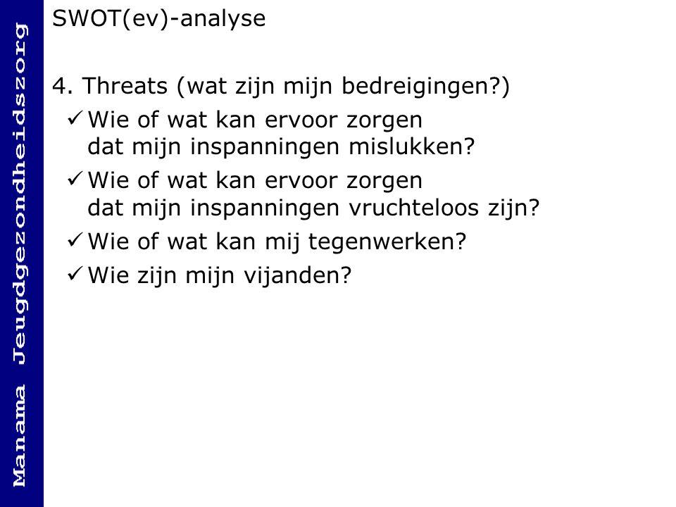 SWOT(ev)-analyse 4. Threats (wat zijn mijn bedreigingen ) Wie of wat kan ervoor zorgen dat mijn inspanningen mislukken