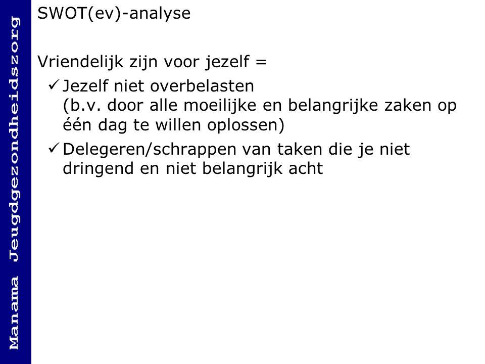 SWOT(ev)-analyse Vriendelijk zijn voor jezelf =