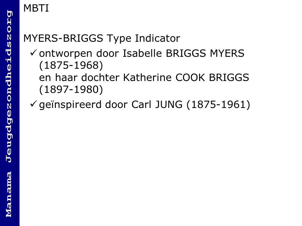 MBTI MYERS-BRIGGS Type Indicator. ontworpen door Isabelle BRIGGS MYERS (1875-1968) en haar dochter Katherine COOK BRIGGS (1897-1980)