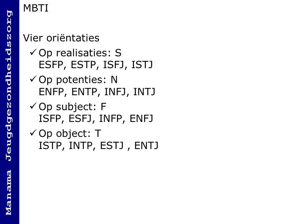 MBTI Vier oriëntaties. Op realisaties: S ESFP, ESTP, ISFJ, ISTJ. Op potenties: N ENFP, ENTP, INFJ, INTJ.