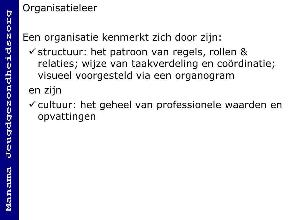 Organisatieleer Een organisatie kenmerkt zich door zijn: