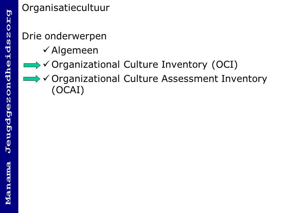 Organisatiecultuur Drie onderwerpen. Algemeen.