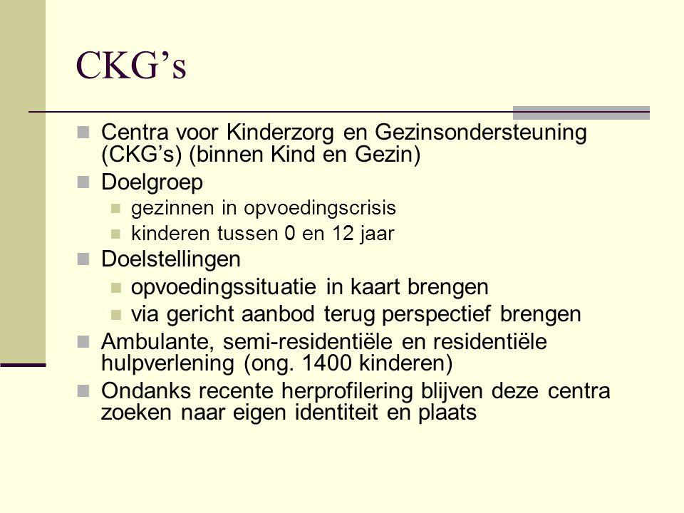 CKG's Centra voor Kinderzorg en Gezinsondersteuning (CKG's) (binnen Kind en Gezin) Doelgroep. gezinnen in opvoedingscrisis.