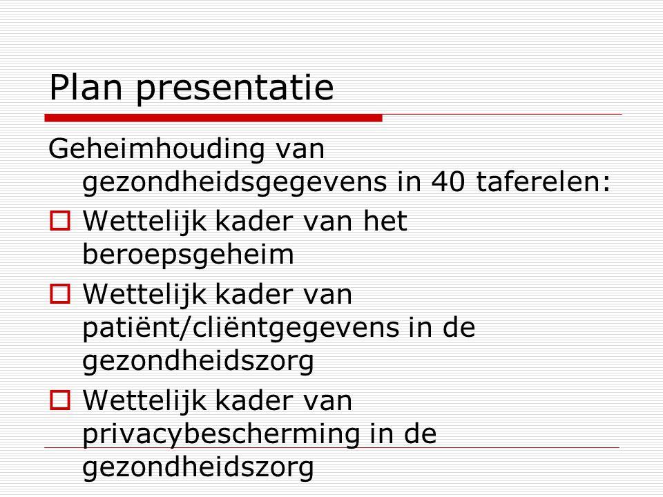 Plan presentatie Geheimhouding van gezondheidsgegevens in 40 taferelen: Wettelijk kader van het beroepsgeheim.